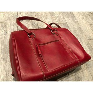 Franklin Covey Red Leather Laptop Zip Tote Office